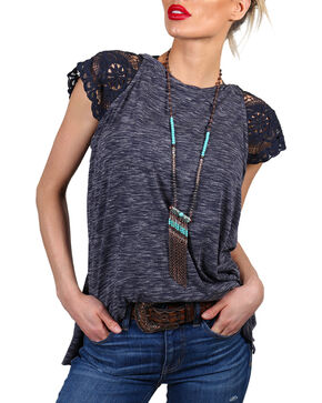 Shyanne Women's Lace Cap Sleeve Heathered Shirt, Navy, hi-res