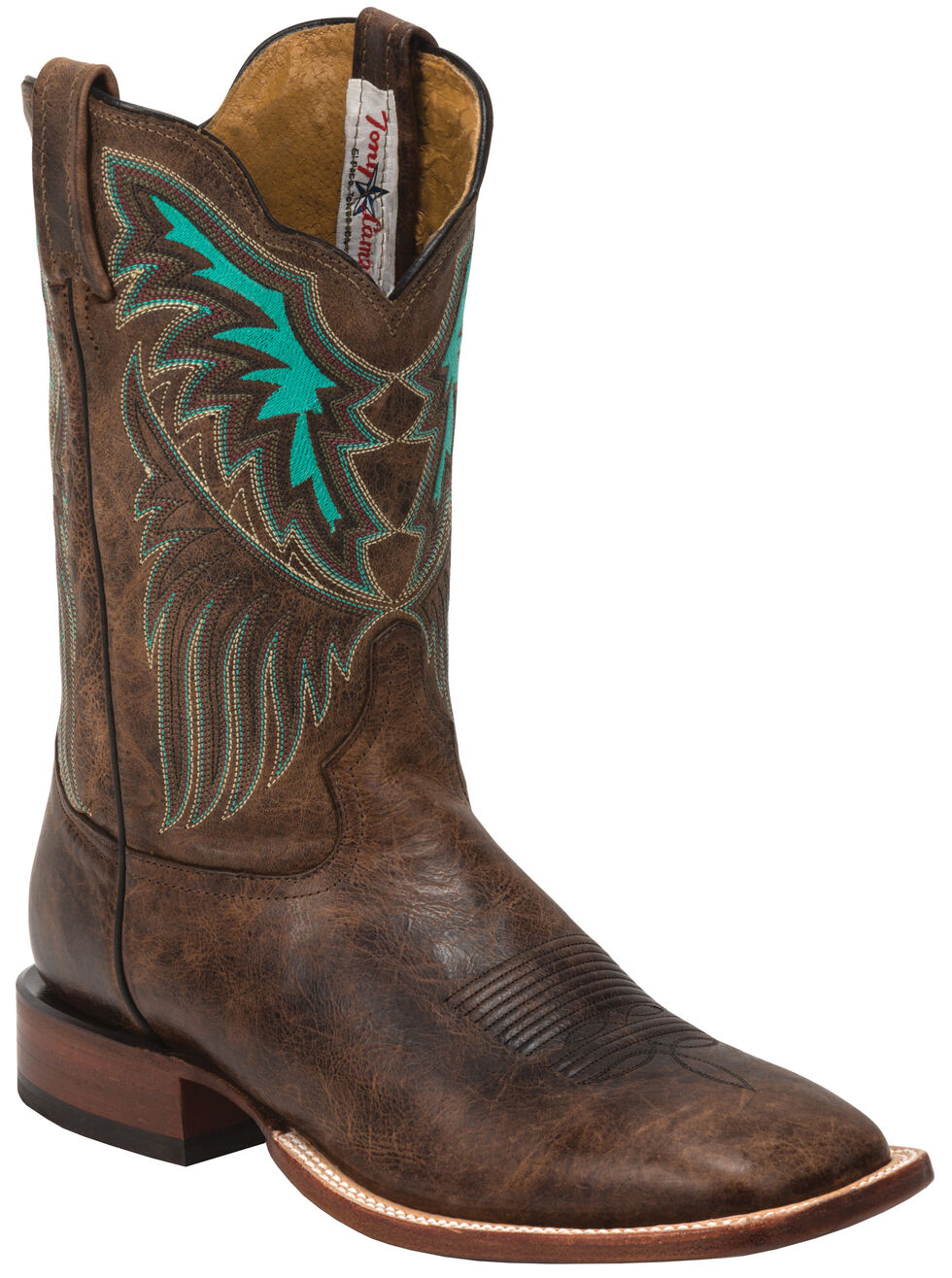 Tony Lama Iron Shiloh San Saba Western Boots - Square Toe , Brown, hi-res