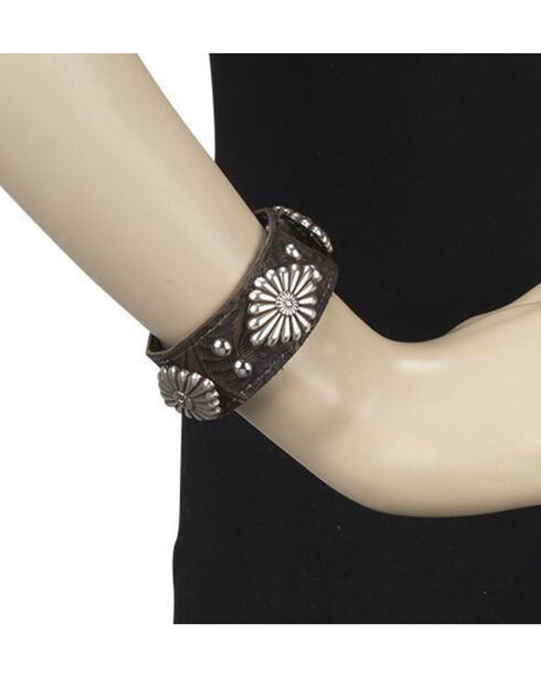 American West Women's Brown Shell Concho Cuff Bracelet , Distressed Brown, hi-res