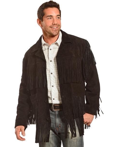 Liberty Wear Men's Suede Fringe Western Jacket , Black, hi-res