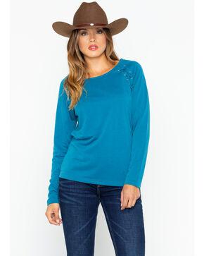 Ariat Women's Tied Top Fluid Laced Sweatshirt , Teal, hi-res