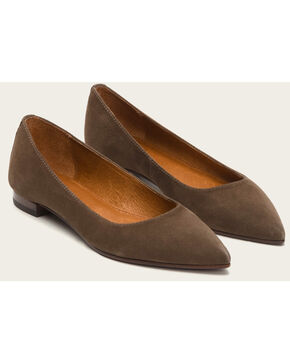 Frye Women's Brown Suede Sienna Ballet Shoes , Brown, hi-res