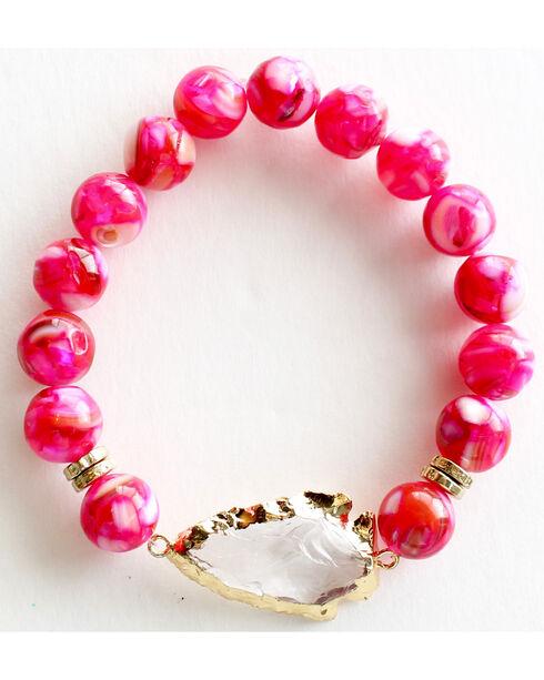 Everlasting Joy Jewelry Women's Flush Rose Arrowhead Bracelet , Bright Pink, hi-res