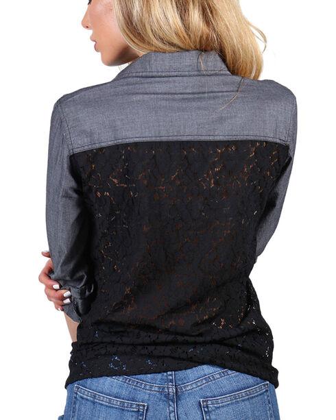 Henna Women's Lace Back Long Sleeve Shirt, Black, hi-res