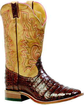 "Boulet Barnwood 13"" Caiman Belly Boots - Square Toe, Barnwood, hi-res"