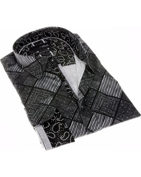 Eight X Men's Digital Print Long Sleeve Shirt, Black, hi-res