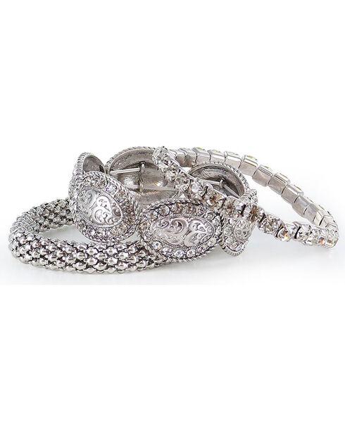 Shyanne Women's Rhinestone Bracelet Set, Silver, hi-res
