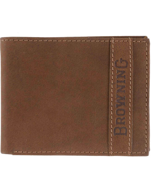 Browning Men's Cowboy Bi-Fold Leather Wallet, Brown, hi-res