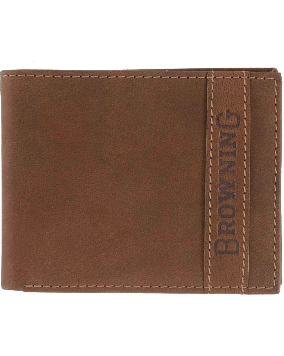 Browning Men's Cowboy Bi-Fold Leather Wallet, Brown, hi-res