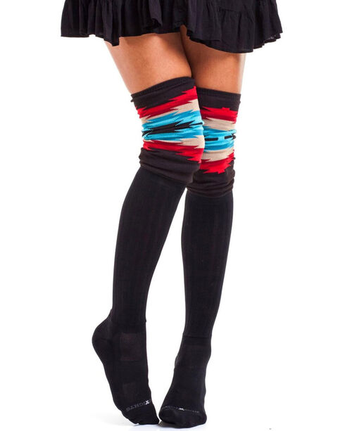 Bootights Women's Aztec Trim Boot Socks, Multi, hi-res