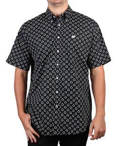 Cinch Men's Black & White Print Short Sleeve Shirt, Black, hi-res