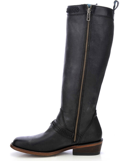 Corral Women's Burnished Lace-Up Tall Boots - Square Toe, Black, hi-res