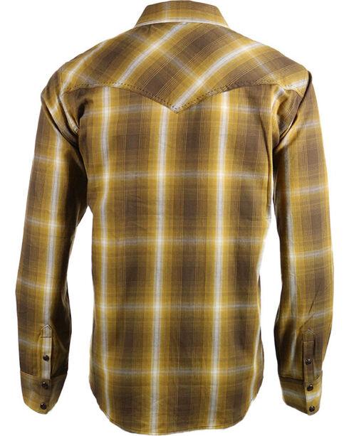 Cody James Men's 8 Seconds Plaid Long Sleeve Shirt, Gold, hi-res