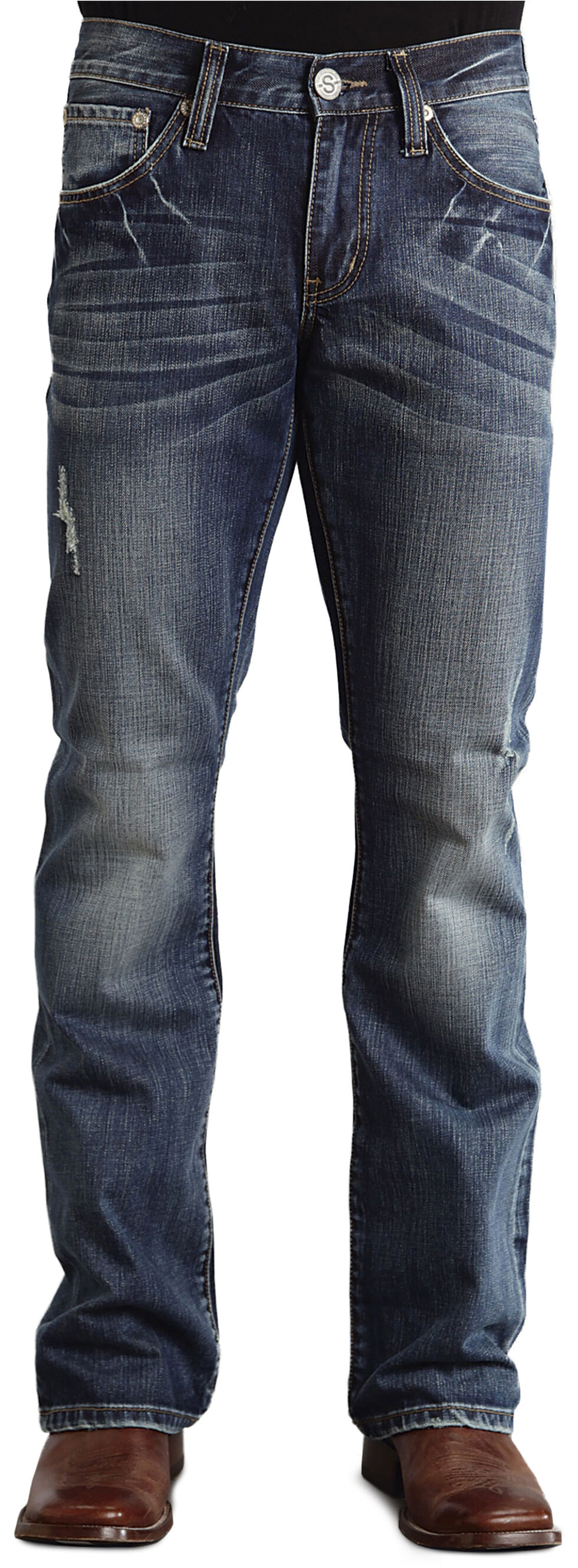 """Stetson Rock Fit Embossed """"X"""" Stitched Jeans, Dark Stone, hi-res"""