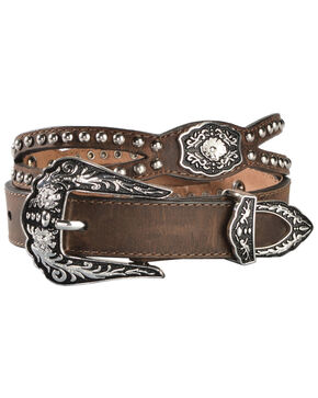 Nocona Fancy Cutout Belt, Med Brown, hi-res