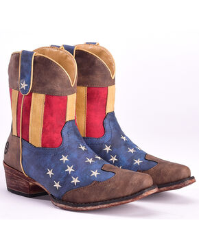 Roper Women's American Flag Short Boots - Snip Toe , Multi, hi-res