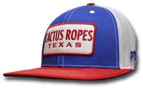Hooey Cactus Ropes Blue Patch Trucker Cap, Red, hi-res