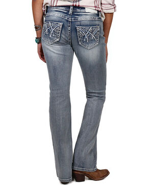 Shyanne Women's Embroidered Mid Rise Bootcut Jeans, Blue, hi-res