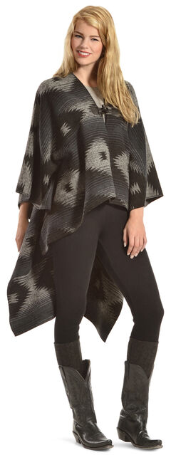Others Follow Women's Wild Winds Black Print Poncho, Grey, hi-res