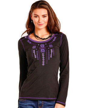 Panhandle Women's Black Aztec Embroidered Top , Black, hi-res