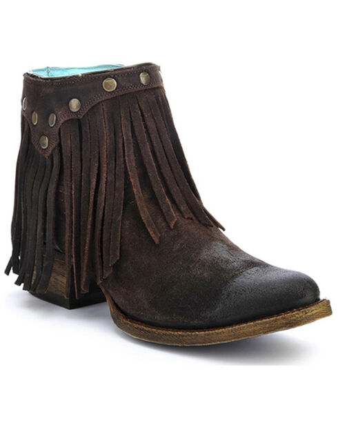 Corral Fringe Ankle Boots - Round Toe, Brown, hi-res