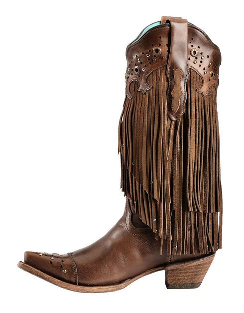 Corral Sierra Fringe & Studded Cowgirl Boots - Snip Toe, Tan, hi-res