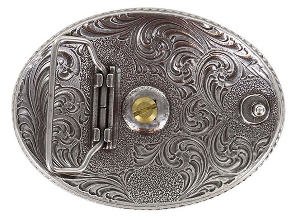 Cody James Men's Two Tone Nevada Oval Belt Buckle, Silver, hi-res