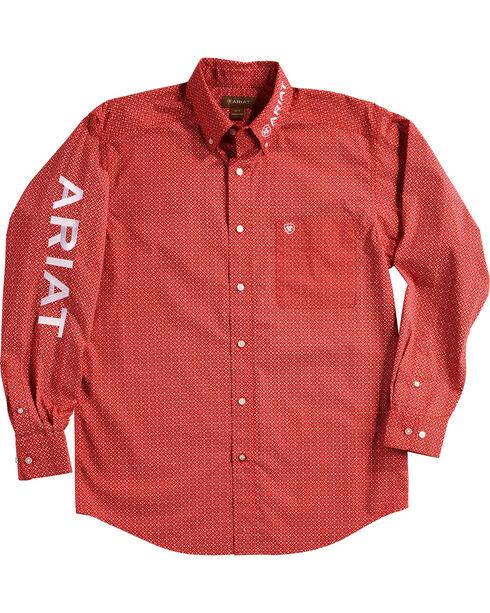 Ariat Men's Batson Print Casual Classic Logo Shirt, Orange, hi-res
