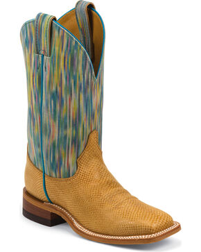 Justin Bent Rail Watercolor Cowhide Cowgirl Boots - Square Toe, Tan, hi-res
