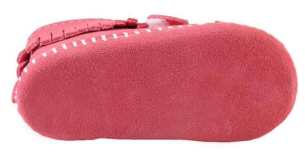 Minnetonka Infant Girls' Fringe with Velcro Strap Bootie, Hot Pink, hi-res