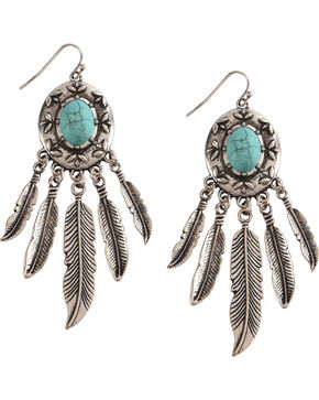 Shyanne Women's Turquoise with Feathers Earrings, Turquoise, hi-res