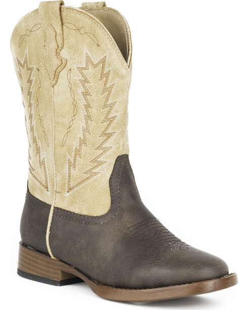 Roper Youth Boys' Billy Western Boots - Square Toe , Brown, hi-res