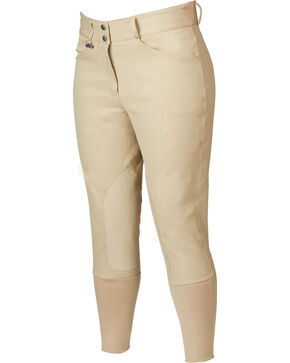 Dublin Everyday Shapely Euro Seat Front Zip Breeches, Beige, hi-res