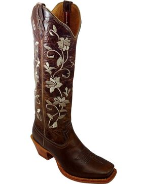 Twisted X Steppin' Out Floral Embroidered Cowgirl Boots - Square Toe, Oiled Rust, hi-res