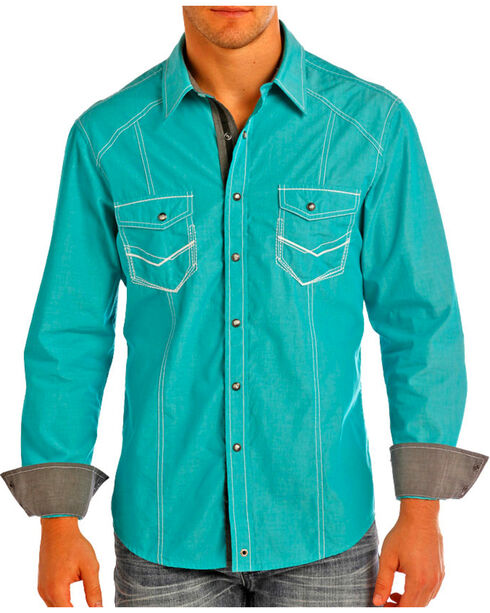 Rock & Roll Cowboy Men's Turquoise Heavy Stitched Long Sleeve Shirt , Turquoise, hi-res