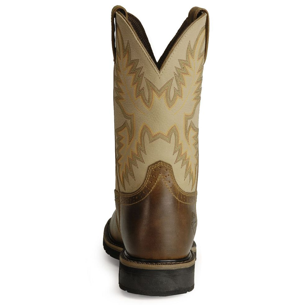 Justin Men's Stampede Superintendent Creme Work Boots - Soft Toe, Brown, hi-res