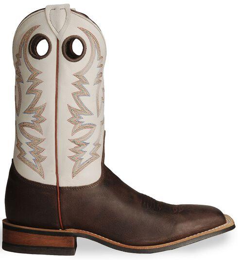 Justin Bent Rail Cowboy Boots - Wide Square Toe, Brown, hi-res