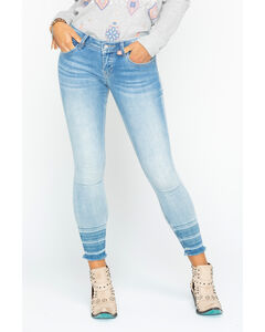 Miss Me Women's Light Indigo Raw Hem Ankle Cuff Jeans - Skinny, Indigo, hi-res