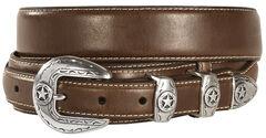 Leather Overlay Ranger Belt, Brown, hi-res