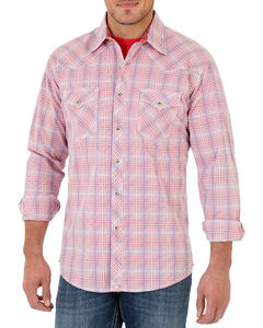 Wrangler 20X Men's long Sleeve Spread Collar Plaid Shirt - Tall, Coral, hi-res