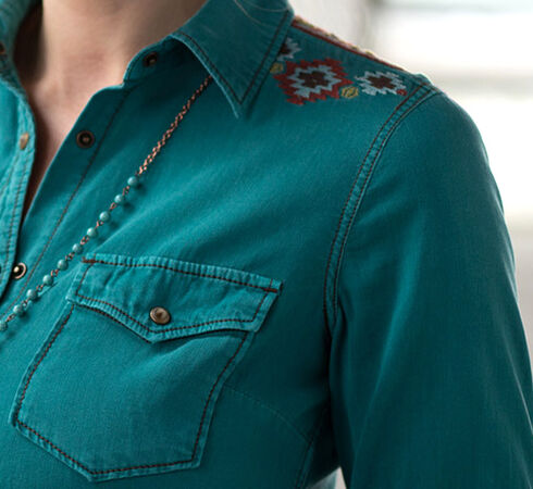 Ryan Michael Women's Embroidered Split Back Shirt, Med Blue, hi-res