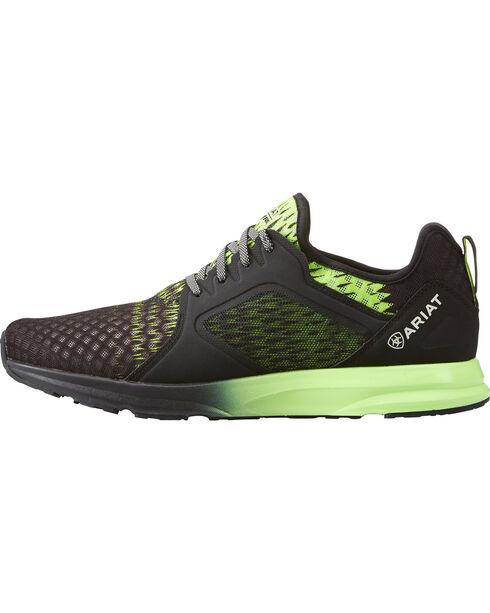 Ariat Men's Black Fuse Lime Ombre Mesh Shoes , Black, hi-res