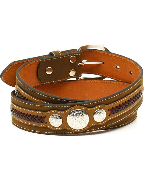 Nocona Men's Top Hand Scalloped Overlay Belt , Brown, hi-res