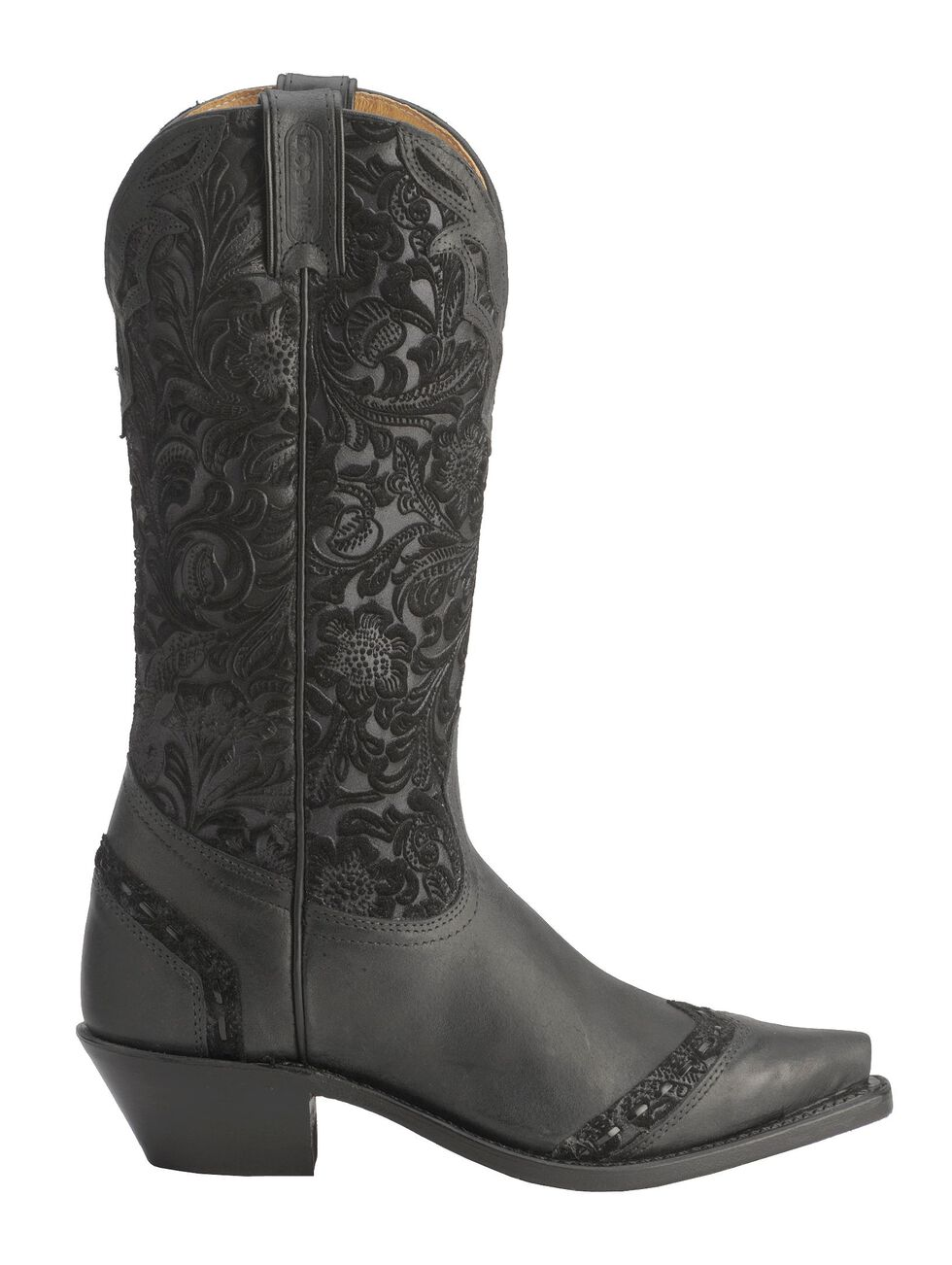 Boulet Tooled Midnight Cowgirl Boots - Snip Toe, Black, hi-res