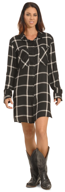 New Direction Women's Black Plaid Shirt Dress , Black, hi-res