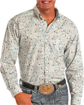 Tuf Cooper Men's Blue Paisley Long Sleeve Shirt, White, hi-res