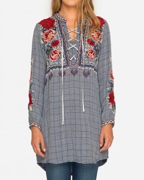 Johnny Was Women's Mica Laceup Henley Tunic , , hi-res