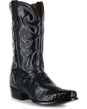 El Dorado Men's Black Alligator Belly Exotic Boots - Narrow Square Toe, Black, hi-res