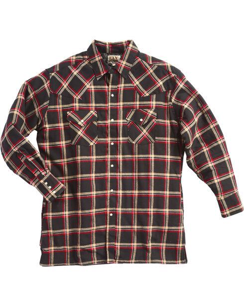 Ely Cattleman Men's Black Quilted Flannel Jacket, Black, hi-res
