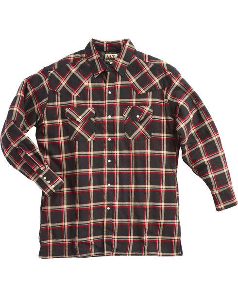 Ely Cattleman Men's Black Quilted Flannel Shirt Jacket - Tall , Black, hi-res